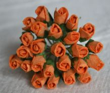 6mm ORANGE ROSE BUDS (L) Mulberry Paper Flowers